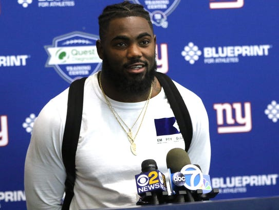 Landon Collins speaks to the press after Giants practice