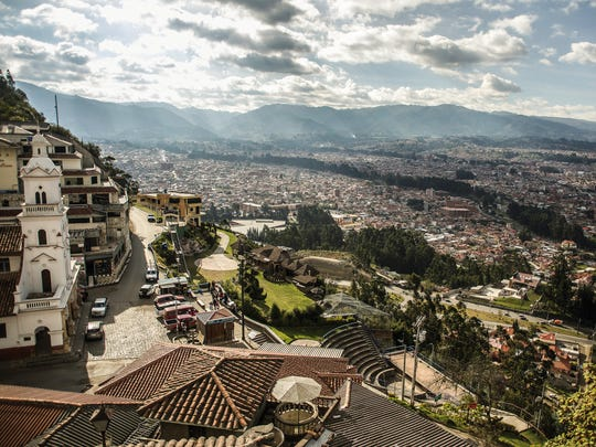 A shot of Cuenca from up high during the day.
