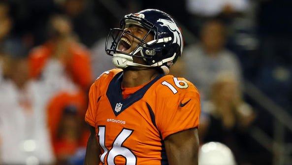 Denver Broncos wide receiver Bennie Fowler (16) reacts