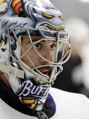 Buffalo Sabres goalie Ryan Miller looks on during an
