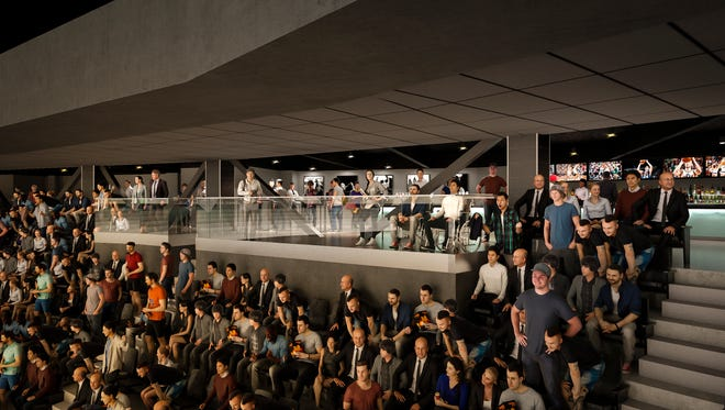 An artist's rendering of an open-concept section of Wells Fargo Center's mezzanine level. Completion is expected this fall.