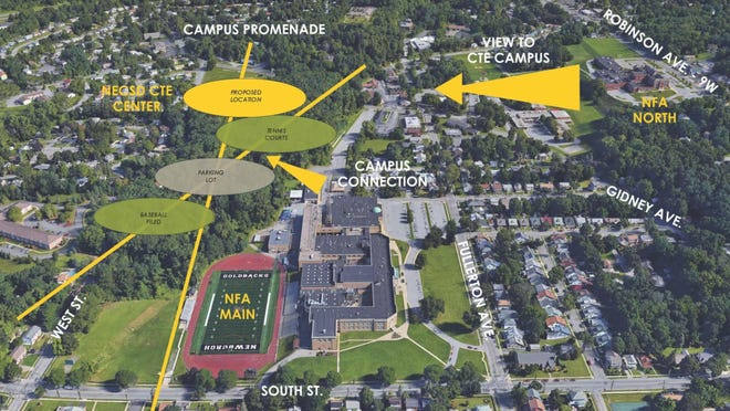 Pictured is a conceptual design presented at Tuesday's regular meeting of the Newburgh school board showing where a new Career and Technical Education Center, athletic facilities and a parking lot could be constructed near Newburgh Free Academy's main campus.