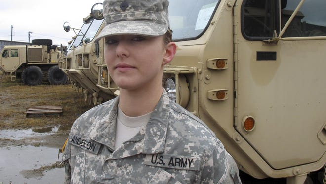 Vermont National Guard Spc. Skylar Anderson is the first female in the Army to qualify as a combat engineer. She is seen at at Camp Johnson in Colchester.