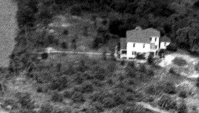 Aerial view of former George T. Gosling home, later the George Keith home taken on Oct. 11, 1950.