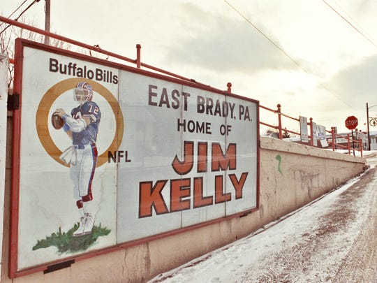 A sign along State Route 68 in East Brady, Pa., leaves little doubt as to the origins of Buffalo Bills quarterback Jim Kelly.