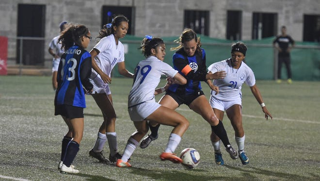 In this file photo, the Notre Dame Royals took on the Southern High Dolphins for their Independent Interscholastic Athletic Association of Guam Girls' Soccer League title. A girls' all-star soccer game will be held May 25 at the GFA field.