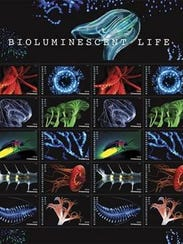 Postage stamps featuring images of bioluminescent sea