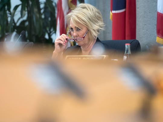 Knox County school board chair Patti Bounds listens to public comments before voting on the 2018-2109 budget on Monday, April 30, 2018.