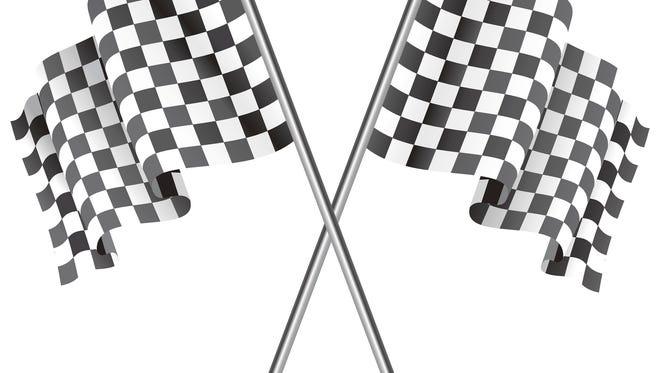 Waving Checkered black and white racing flag. Vector illustration.