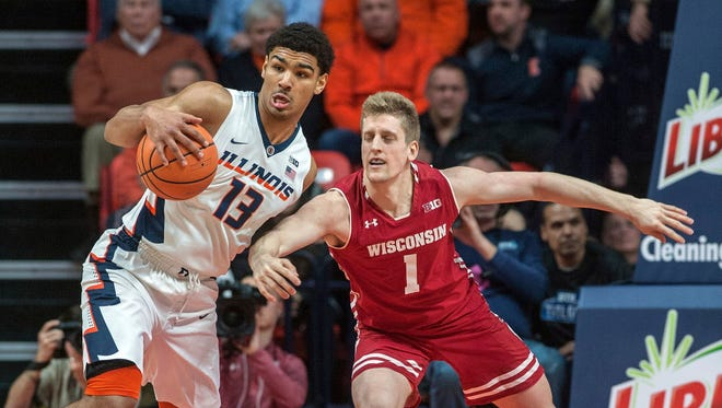Wisconsin guard Brevin Pritzl (right) was in a shooting slump before hitting all three of this three-point attempts against Illinois on Thursday. Pritzl finished with 15 points off the bench in UW's victory over the Illini.