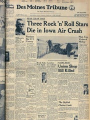 Des Moines Tribune front page Feb 3, 1959. Buddy Holly, Ritchie Valens, J.P. Richardson. Three Rock and Roll stars die in Iowa air crash.