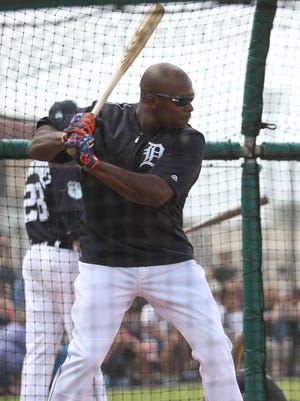 Tigers outfielder Justin Upton takes batting practice during the first full team workout in spring training Feb. 18, 2017, at Publix Field at Joker Marchant Stadium in Lakeland, Fla.