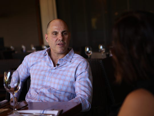 Coyotes head coach Rick Tocchet sits down for an interview