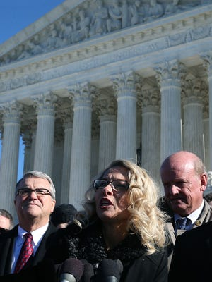 Rebecca Friedrichs speaks to the media after oral arguments at the Supreme Court on Jan. 11, 2016.