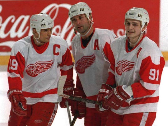 Steve Yzerman, Paul Coffey, and Sergei Fedorov.