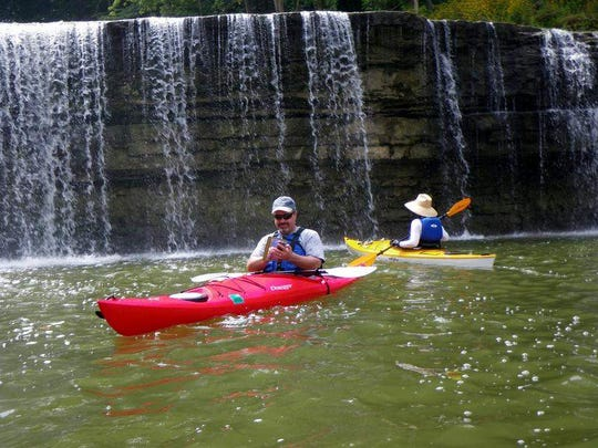 Sometimes you can get a special scenic treat on a paddling trip, like Cataract Falls in Cloverdale, Owen County, only a little more than an hour from Indianapolis. Two sets of falls on Mill Creek create a cascade that drops 86 feet, the largest waterfall in Indiana.