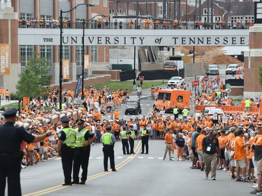 Fans wait for the start of the Vol Walk at Neyland