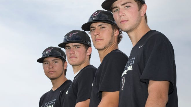 From right: Chandler Hamilton High School pitchers Zach Pederson, Nick Ohanian, Jake Wong and Zane Strand on March 11, 2015 at Hamilton High School.
