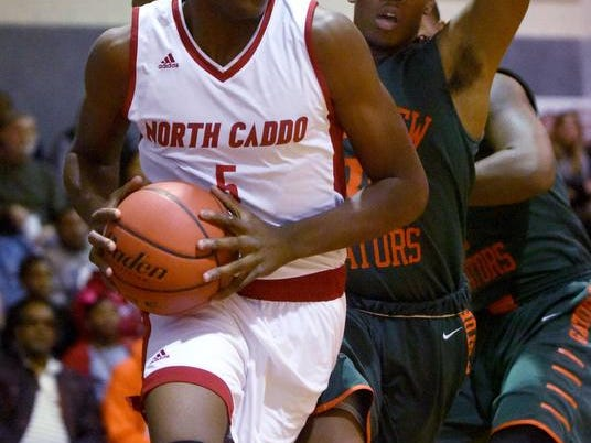 North Caddo's Robert Williams drives to the hoop during a game against Lakeview this season.