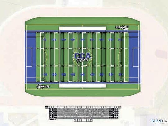 """The new """"Clipper Blue"""" end zones and boundaries accent the soon-to-be renovated football field at Clear Creek Amana's Clipper Stadium, which is set to take place this summer."""