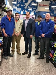 The Martens Specialty Flooring team, Mike Pryzlak, left, Corey Culver, John Martens, Gary Buckingham and Jason Franklin are at PetSaver in Victor where Martens installed flooring in 2017.