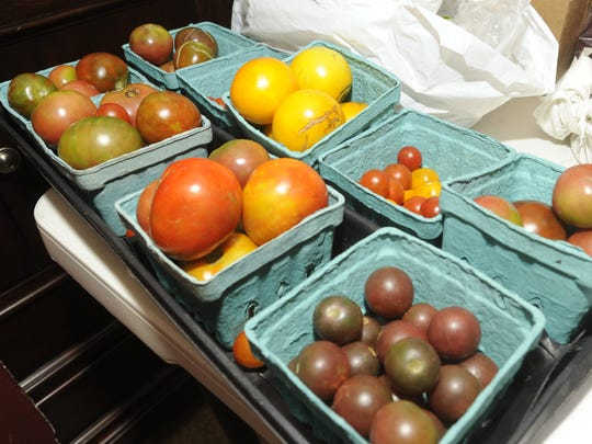 Various types of tomatoes used during a unique event called a Farm to Fork dinner, in which most of the ingredients used come from the farm. Cafe Bellavita has partnered with Taylor's River Side Farm, the next event is Sept 21 at the Cinnaminson farm.