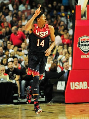 New Orleans Pelicans center Anthony Davis reacts after scoring for the U.S. in Saturday's scrimmage against Brazil. The 6-foot-10 Davis might be the most important player for the U.S. as it enters the FIBA Basketball World Cup.