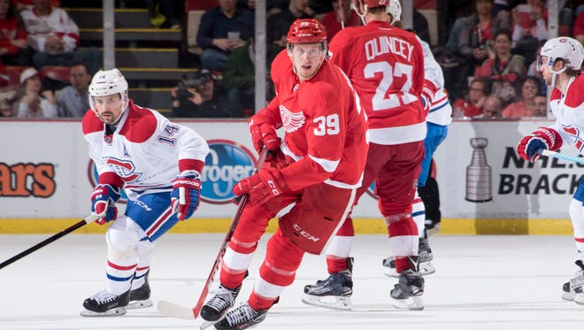 Anthony Mantha had two goals and one assist in 10 games with the Red Wings last season.