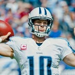Tennessee Titans quarterback Jake Locker (10) hurt his thumb in last week's loss to Cleveland and hopes to be ready for Sunday's game vs. Jacksonville.