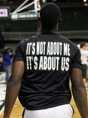 Michigan State guard Joshua Langford (1) wears new
