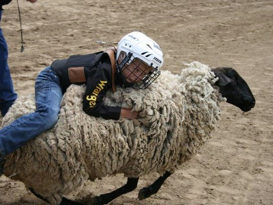 A boy competes in a past Junior Rodeo.