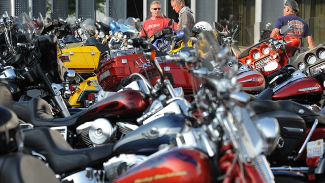 Bike lovers get together for the first night of 2015's Milwaukee Rally on Sept. 3, 2015, at the Harley-Davidson Museum in Milwaukee.