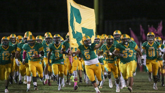The Coachella Valley Arabs take the field for their game against Twentynine Palms, October 27, 2017.