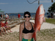 Jennifer Johnson with a 14-1 pound snapper at the Gulf