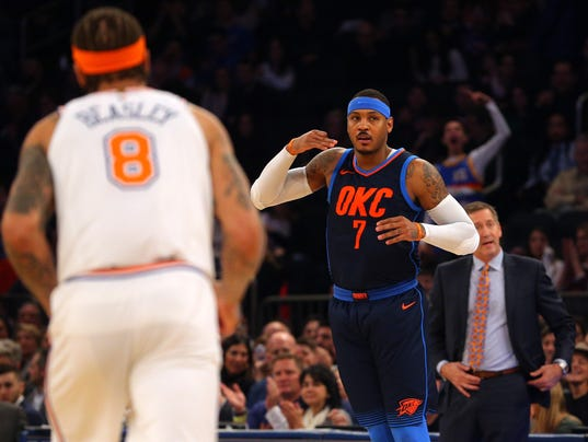 Αποτέλεσμα εικόνας για carmelo returns to garden knicks win thunder