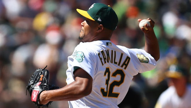 Jeurys Familia picked up a win Sunday in his first game with the Oakland A's.