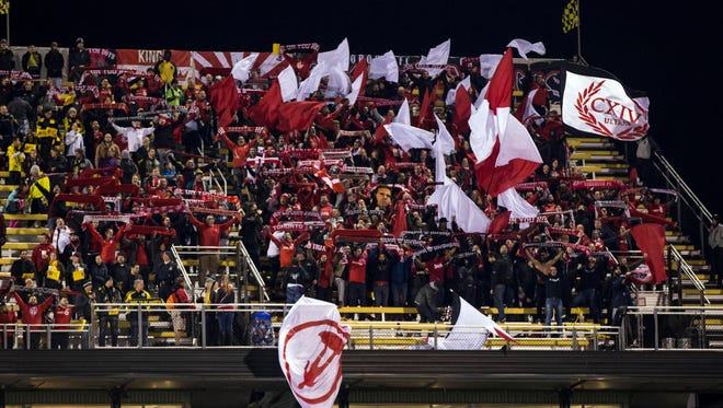 Toronto FC fans support their team before the match against Columbus Crew SC on Nov. 20, 2017.