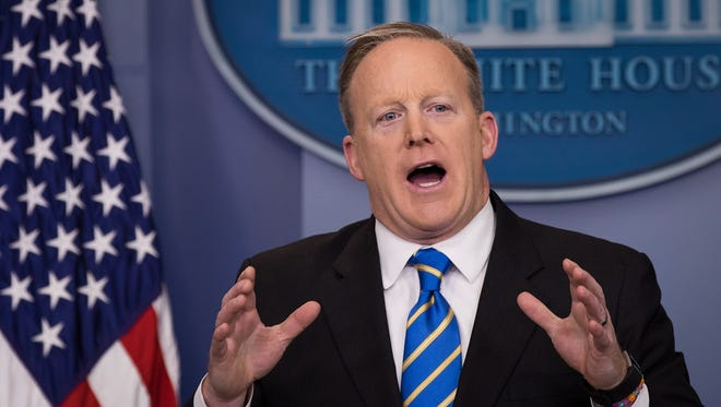 Sean Spicer in the White House on Jan. 24, 2017.