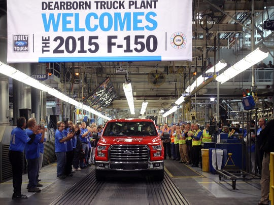 The first 2015 Ford F-150 truck comes off the assembly line at the Dearborn truck plant at the Ford Rouge Center in November 2014 in Dearborn, Mich.