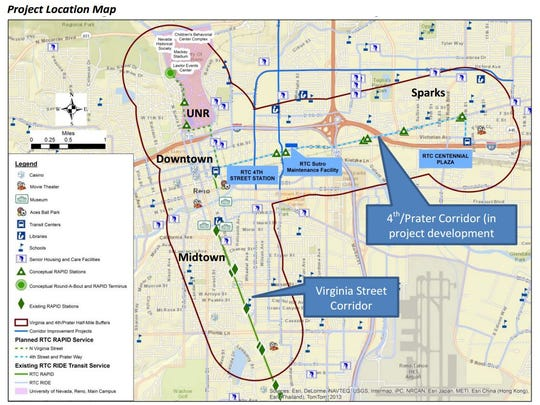 Plans for both the Virginia Street Corridor changes and the 4th Street/Prater Way changes. Image form the Complete Streets Master Plan.