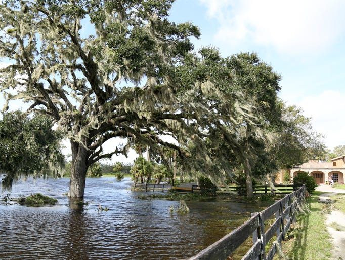 Swaths of rural St. Lucie  County were inundated Monday,