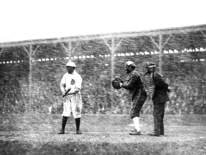 The Tigers' Davey Jones is up to bat during a snow