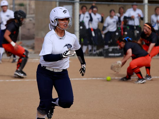 Piedra Vista's Aleja Armenta gets on base during a game against Aztec on Thursday at the Farmington Sports Complex.