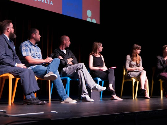 The artists who presented at the second annual ArtPrize Pitch Night answer questions from the judges. The question session was followed by a break and the announcement of the Pitch Night winner.