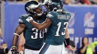 Carson Wentz threw a season-high three touchdown passes and the Philadelphia Eagles got an early lift from their defense and special teams in beating the struggling New York Giants 34-13