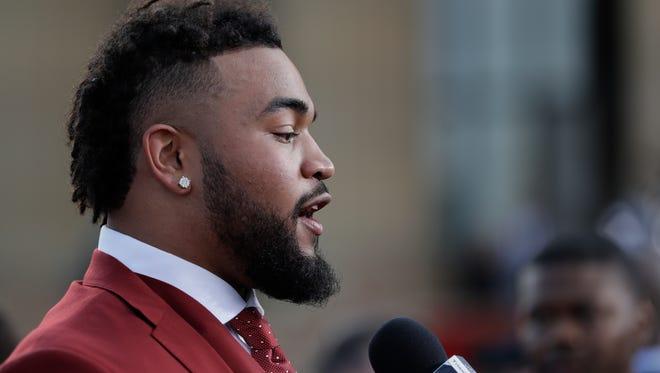 Tennessee's Derek Barnett arrives for the first round of the 2017 NFL football draft, Thursday, April 27, 2017, in Philadelphia. (AP Photo/Julio Cortez)