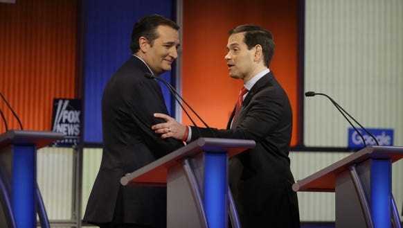 Ted Cruz and Marco Rubio talk after the GOP debate