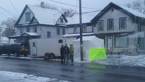Police investigate a meth lab inside a Cortland apartment on Saturday, Dec. 10, 2016.