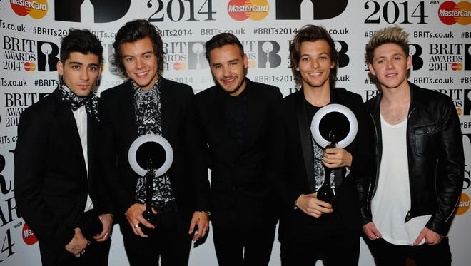 The members of One Direction pose at The BRIT Awards on Feb. 19 in London.