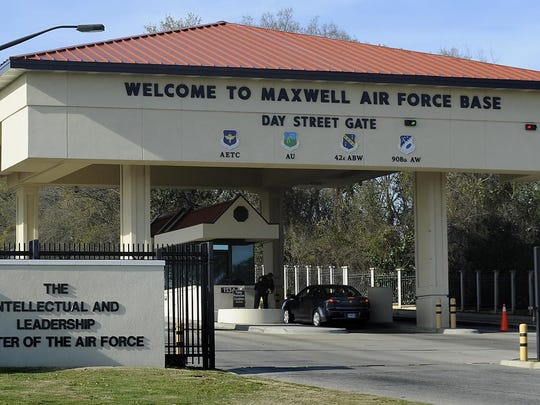 The Day Street Gate at Maxwell Air Force Base. Maxwell and Gunter Annex have increased their installation's threat level from Alpha to Bravo